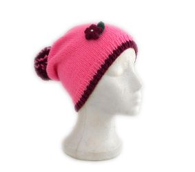 Sweet as candy hand knit beanie hat with pompom by YANKA-arts-n-crafts