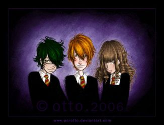 HP . Harry + Ron + Hermione by porotto