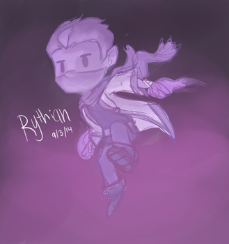 Sketchy Purple action Rythian by CrystalBluePuppy