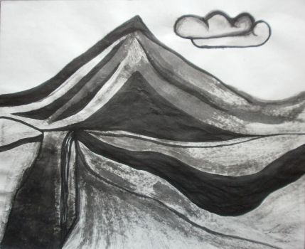Mountain and Canyon Landscape In Ink by FireheartTheInferno