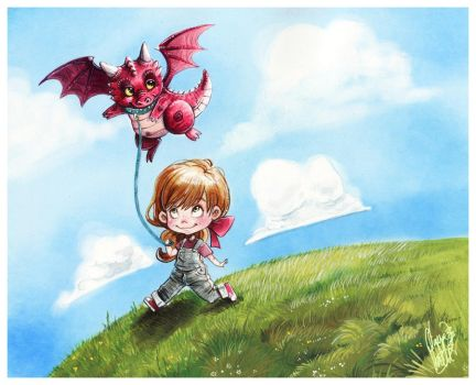 A girl and her Dragon by OlayaValle