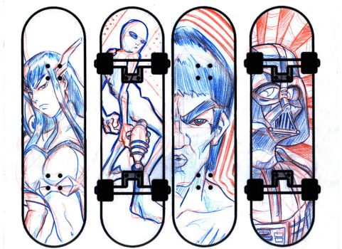 Skateboards - Sketches by Gerry-Lee