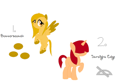 Adoptables 4 butterscotch and straight edge (MLP) by SymmetricalDTK