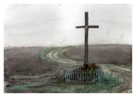 Landscape with a cross by Magianna