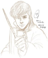 Rough Sketch : Newt Scamander and Pickett by noji1203