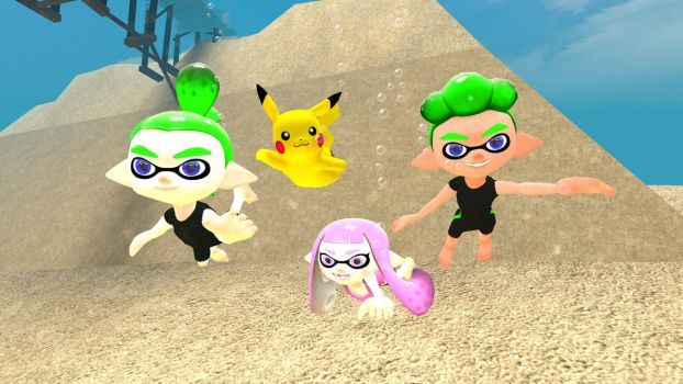 A trio of Inklings and a Pikachu UW by kuby64