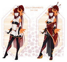Christmas Dextro: DAY 01 Gold Ornaments by Lunathyst