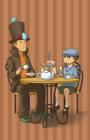 Layton and the Birds by milkaru
