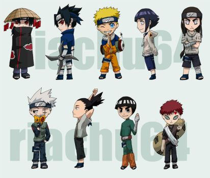 Naruto - CHIBIS COLORED by riachu64