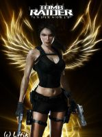 Lara Croft with wings of fire by Lufik