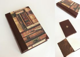 Brown Leather Journal with Books for Priscilla by GatzBcn