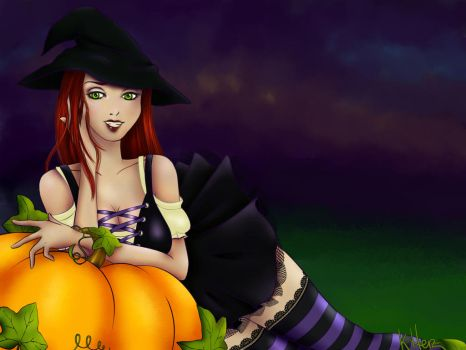 Pumpkin witch by FrolleinGrottenolm