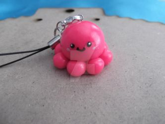 Pink Octopus phone charm by Kashi-kun