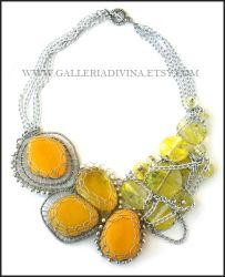 A Bunch of Sun - OOAK statement necklace by Faeriedivine