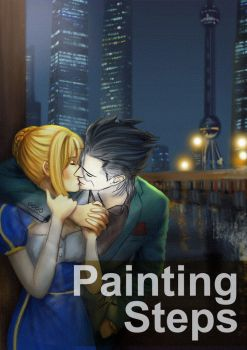 Saber Lancer Kiss Painting Steps - Animated GIF by pixelmotron