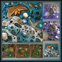 Custom Polymer Clay Found Object Tiles by MandarinMoon