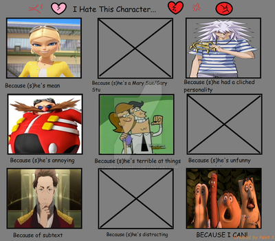 My 'I Hate This Character' Meme by cameron33268110