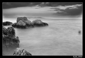 Makarska Sunset BW by Klek