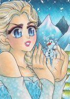 ATC ACEO Elsa: My little Snowman by LuckyAngelausMexx