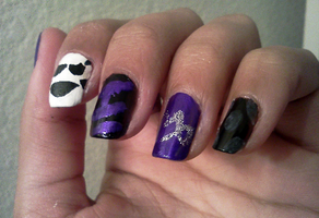 Homestuck Nails: Gamzee Makara by Khainsaw