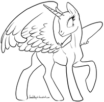 Alicorn Lineart Base by Manic-and-Monstrous