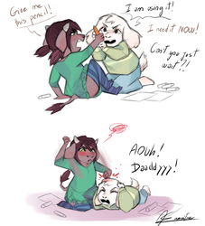 Child Sahara and Asriel by MissDesign33
