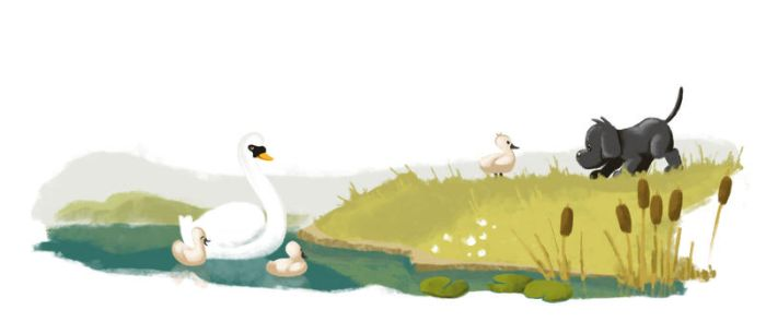 Dandy and the swans by sukisouk