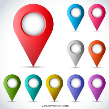 Map Pointers Free Vector by 123freevectors