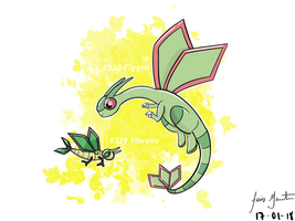 #329 Vibrava and #330 Flygon