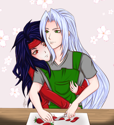 Strawberry Slicing [ Sephiroth + Vincent ] by timeless3wings