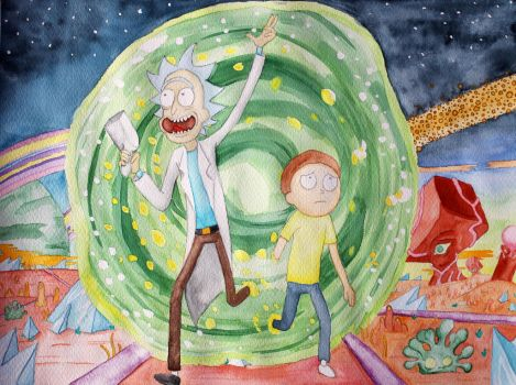 Rick and Morty Portal Watercolour Painting by Shylve