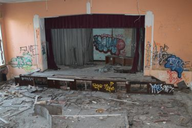 Stage at abandoned Detroit school by bradthemann