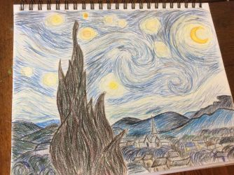 Starry Night in colored pencil by Purple-Raptor