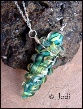 Mermaid Tides - Glass Bottle Necklace by andromeda