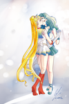 Usagi x Michiru - Commission by VBunny
