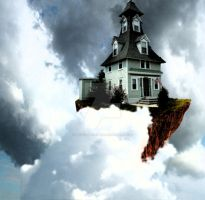 Flying house by magicartist3000