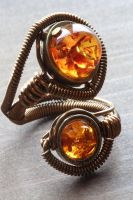 Steampunk Amber Adjustable Ring by CatherinetteRings
