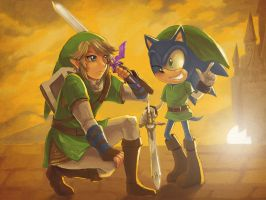 Sonic and Link by chobitsG