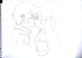 Asuna and Kirito Kiss by cak04