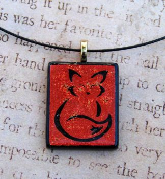Calligraphy Fox Fused Glass by FusedElegance
