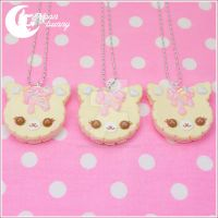 Cute cookie cat necklace by CuteMoonbunny
