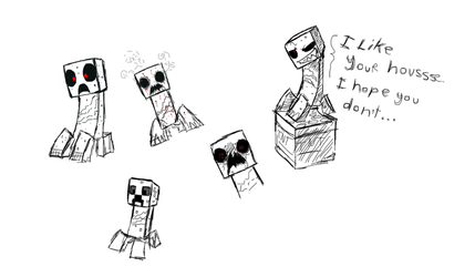 Minecraft Creeper in different styles sketches by ZimPLUSDib