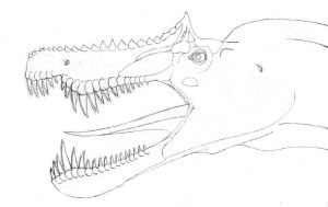 Spinosaur head lineart by dracontes