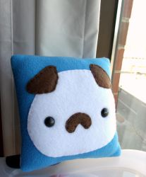 Small Sky Blue Puppy Moosh Pillow by CynicalSniper
