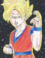 Dragon Ball Z- Super Saiyan Goku is on the house by SuperSaiyanI9000