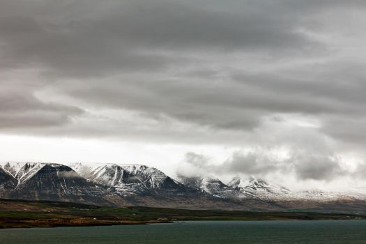 Cloudy Akureyri Mountain Coast (freebie) by somadjinn