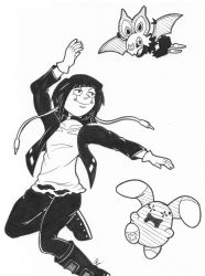 Inktober 22 - Jirou with Noibat and Whismur by Scorpius02
