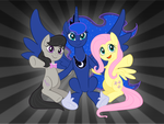 Friendship is Magic - Luna, Celestia + Fluttershy by purpletinker