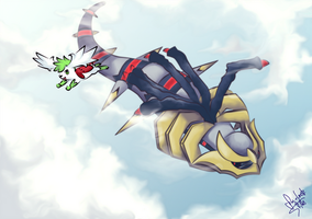 Giratina and Sheimi by Frog-of-Rock