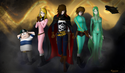 Captain Harlock and the crew of the Arcadia by Thorn-Reed